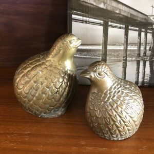 Vintage Brass Quail Birds Set of 2